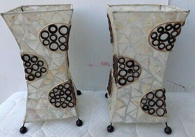 Abajour in resina madreperla e bambù cm 16x16x33 color bianco marrone