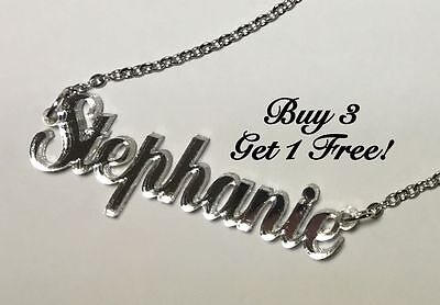 Name Necklace Acrylic Personalized - Buy 3 get 1 FREE - FREE Shipping  22 Colors (Personal Necklaces)