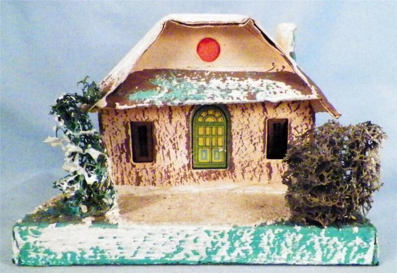 Vintage Christmas House Train Yard Putz Japan Brown Green Corrugated Roof #58