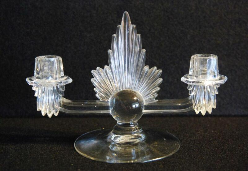 BEAUTIFUL VTG ART DECO CLEAR SOLID GLASS CANDELABRA - PRICE CUT!