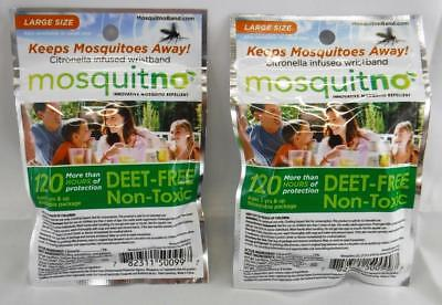 Mosquitno Innovative Mosquito Repellent 120 Hours Large Lot Of 2 Wristbands