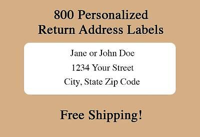 800 Personalized Printed Return Address Labels- 1/2 x 1 3/4 Inch-Free Shipping
