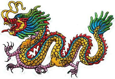Chinese dragon kung fu yakuza tattoo embroidered applique iron-on patch S-1210