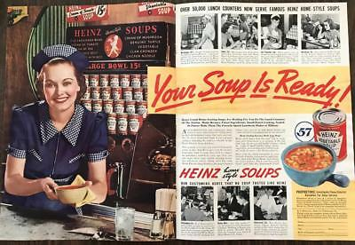 ORIGINAL 1940 Heinz Soups Two-Page Print Ad Diner Scenes Your Soup is Ready