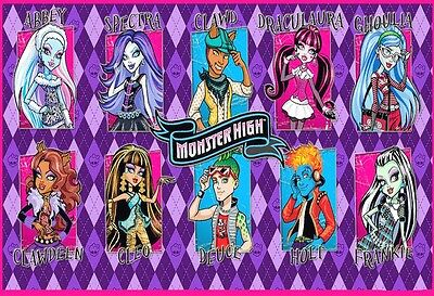 Monster High School Friends Edible Birthday Cake Topper Frosting Icing 1/4 Sheet