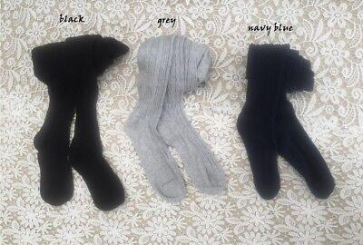 NEW School Girls Rich Cotton Tights Stocking 8-10 12-14 yrs,Black Navy Blue Grey](Schoolgirl Black Tights)
