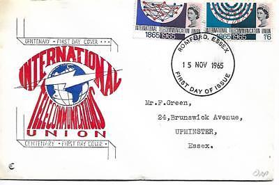 1965 INTERNATIONAL TELCOMMS CENTENARY ORDINARY FDC SG 686-684 REF 275