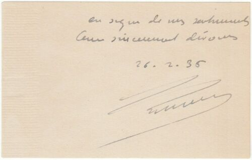 Lumière, Auguste (Inventor cine camera) - card signed