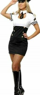 Miss Capt. friendly sky Candi Pilot Sailor Dress Halloween Sexy womans Costume S - Friendly Halloween Costumes