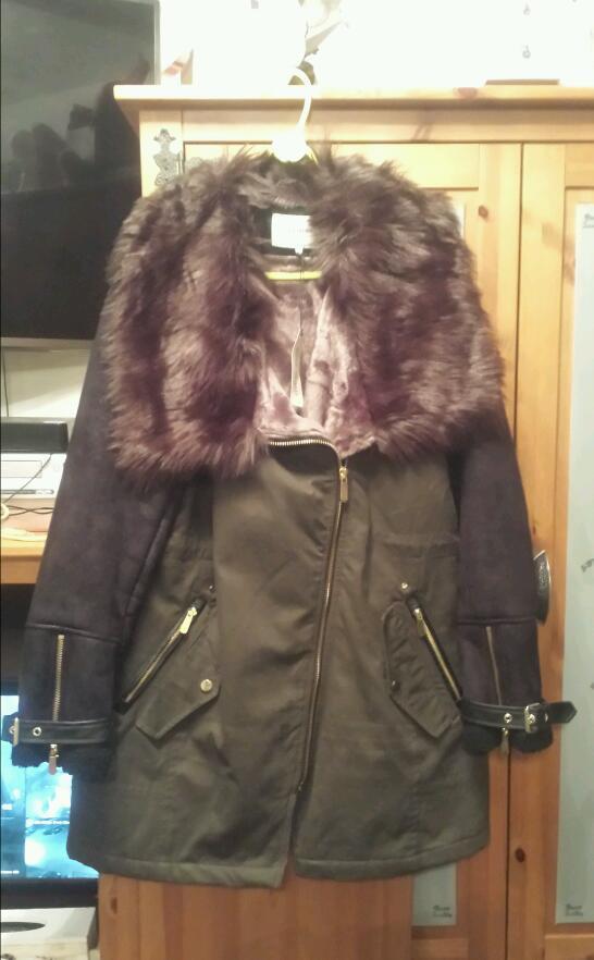 3a32704ef4f River island fur lined coat size 18