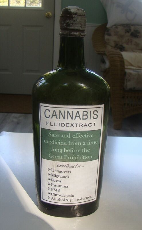 Antique Cannabis Fluid Extract Olive Green Medicine Repro Bottle