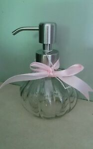 Vintage Style Elegant GLASS SOAP DISPENSER with Pump Mechanism NEW