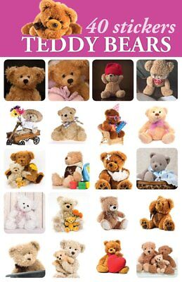 40- Teddy Bear Stickers For Scrapbooking or Envelopes Cute For Kids Adorable - Stickers For Scrapbooking
