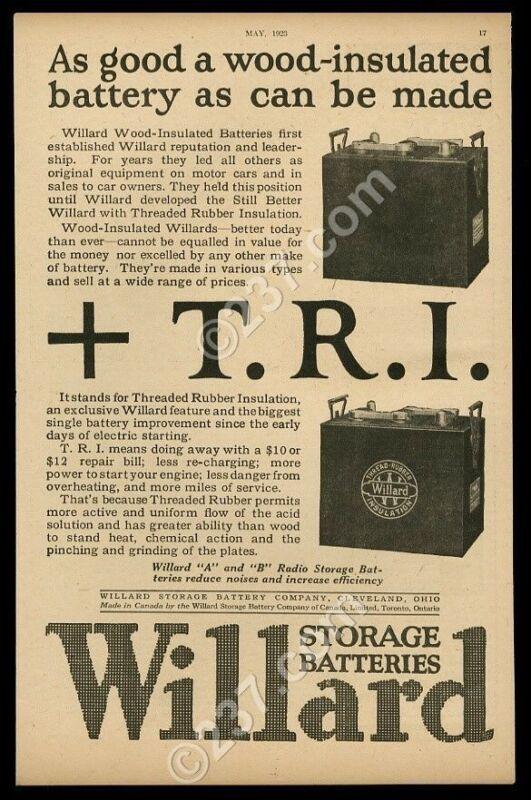 1923 Willard storage battery photo vintage print ad