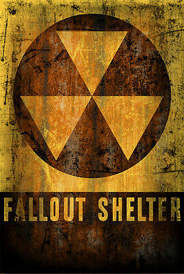Fallout Shelter Nuclear Retro Vintage Look Rusted Reproduction Metal Sign