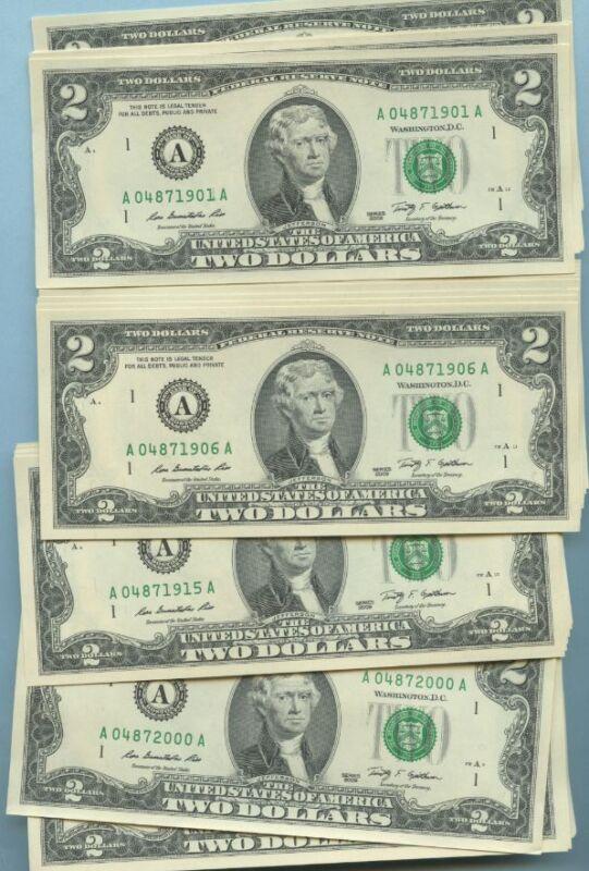 ONE BIRTHDAY ANNIVERSARY YEAR TWO DOLLAR BILL MINT UNC ALL YEARS 1900-2000  2.00
