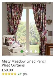 Dunelm Misty Meadow Lined Curtains