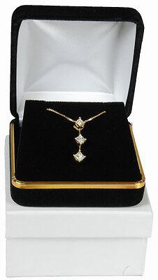 Black Velvet Pendant Necklace Earrings Jewelry Gift Box 2 5/8 X 2 5/8 X 1 3/8