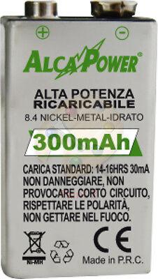 Pila Batteria ricaricabile Ni-Mh 9V 300mAh 9 volt accumulatore battery 7326