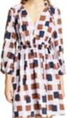 6C65 Size 4 NEW Women's Kate Spade New York Geo Squares Long-in multi white