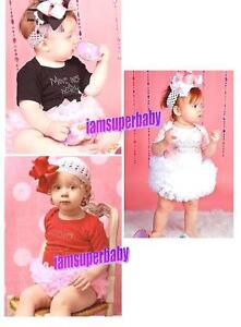 Baby-Girl-Tutu-Onesie-Dress-Outfit-Pink-Red-Black-Ruffles-3-6-12-18-Months