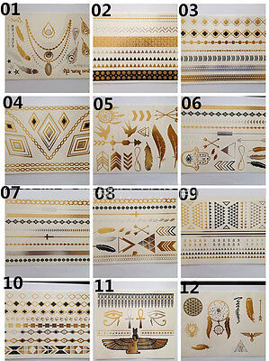12 Sheet Temporary Gold Silver Style Black Flash Tattoos Celebrity Jewelry on Rummage