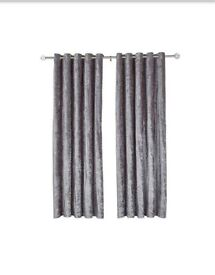 Long grey curtains