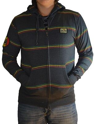 - Bob Marley RASTA LION STRIPE Zip Up Hoodie Hooded Sweatshirt NEW 100% Authentic