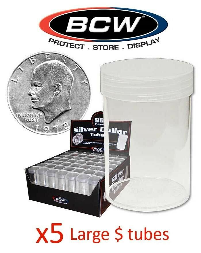 10 BCW Round Clear Plastic Small Dollar Coin Tubes with Screw on Caps