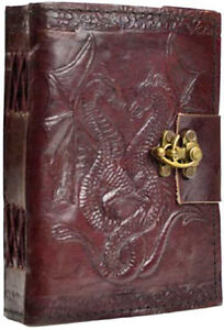 Latched Double Dragon Handmade Leather Journal Grimoire (BOS)