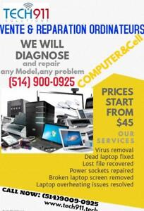 Ordinateurs ,Laptops, MacBook ,iMac & Cellulaires :Reparation,Service & Vente ;On se deplace pour vous ..514 900-0925