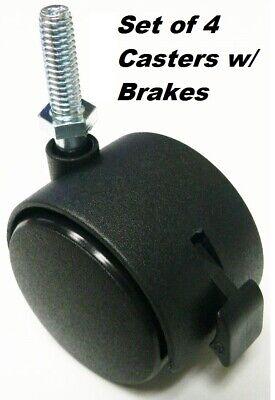 4 Pcs. - 2 Twin Wheel Caster W Locking Brake 516 - 18 X 1 New