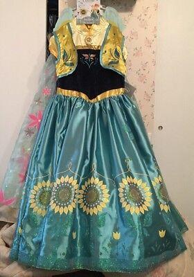 NWT Disney Store Frozen Fever Anna And Elsa Princess Dresses/Costumes 9/10 (Elsa And Anna Costume)