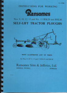 Ransomes Nos. 9,10,12,13, & 15 RSLD & RSLM Plough Instructon Parts Book