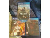 PS4 games bundle: WWE 2k17, Watchdogs2, MGS;PP, COD BO3