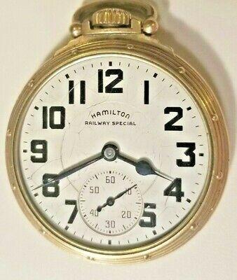 Hamilton 992B 21j Open Face Railway Special Pocket Watch 10k Gold Filled A