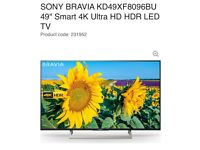 "Sony Bravia KF49XF8096BU 49"" 4K Smart Ultra HD LED TV"