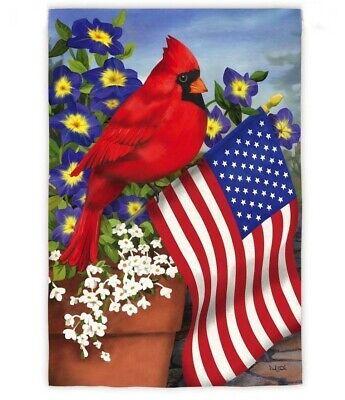PATRIOTIC CARDINAL FLOWERS  FLORAL YARD GARDEN FLAG 12
