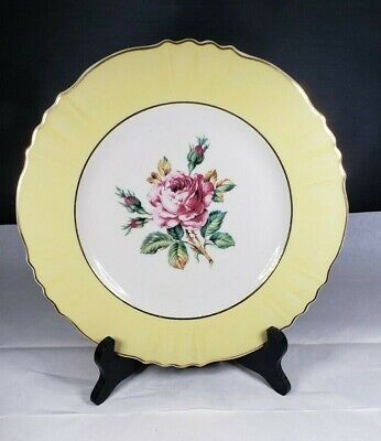 "Vintage Aberdeen China 10"" Dinner Plate Scalloped Edges Rose Center Gold Trim"