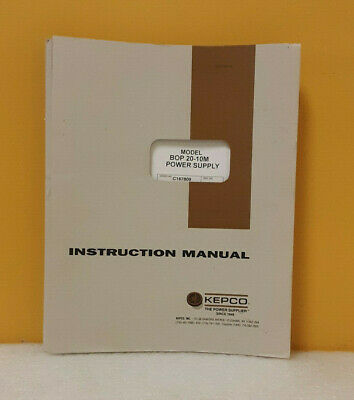 Kepco 243-0668 Bop 20-10m Bipolar Operational Power Supply Instruction Manual