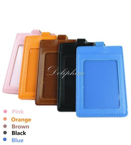 Vertical ID Badge Holder 4 layers PU Leather with 1 ID Window and 1 Card Slot