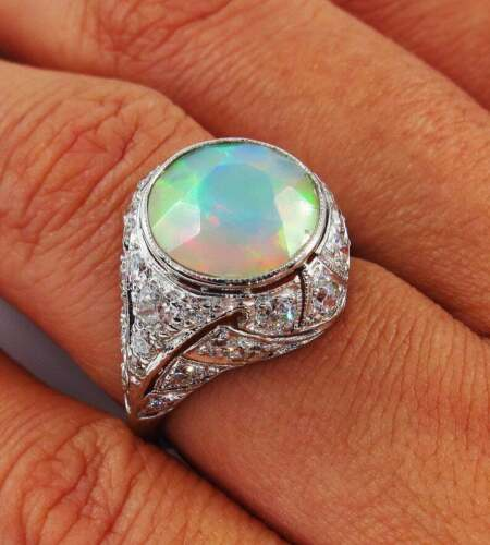Edwardian 2.94ct Australian Opal With Old Mine Cut Cubic Zirconia Vintage Ring