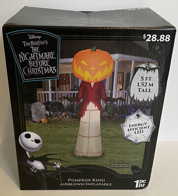 Nightmare Before Christmas 5 Ft Pumpkin King Airblown LED Inflatable Gemmy NIB