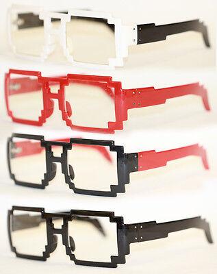 Pixel Nerd Brille  Klarglas schwarz rot weiß 474
