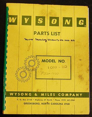 Wysong 1010 Rd Power Shear Parts List Manual