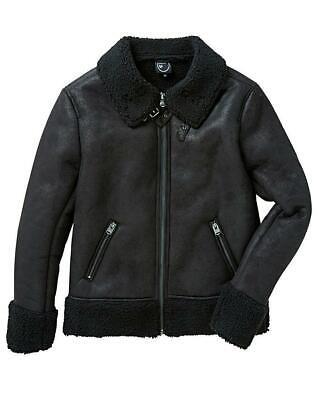 4 Bidden Faux Sherpa Leather Sheepskin Aviator Jacket Black Size  XL 45/47