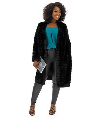 Helene Berman Black Textured Stripe Coat Size 24 BNWT