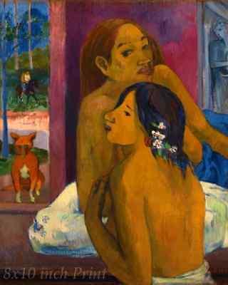 Two Women (Flowered Hair ) by Paul Gauguin - Tahiti Girl 8x10 Print Picture 1611