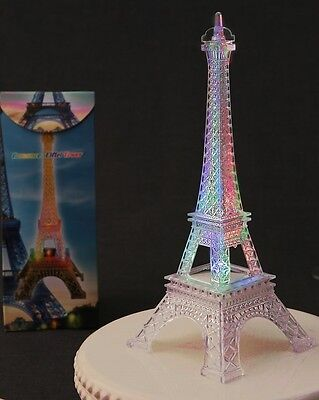 """Eiffel Tower Replica- 10"""" Lights up with changing colors & intermittent flashes"""