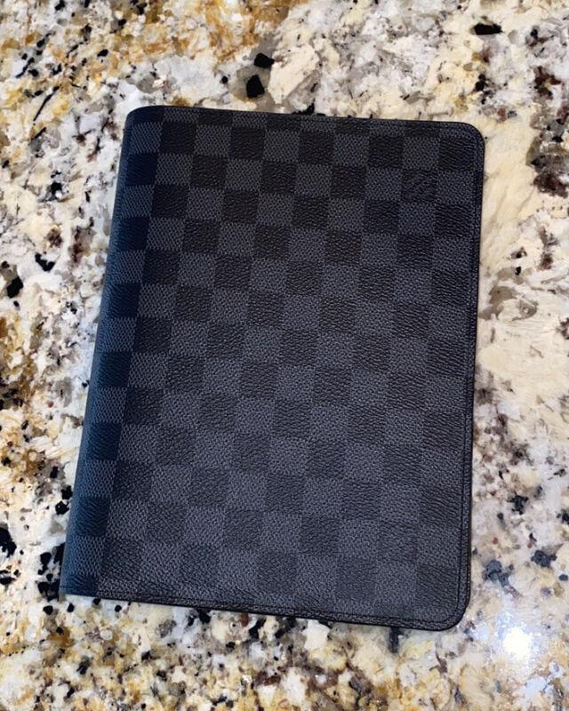 Louis Vuitton Desk Agenda/ Book Cover Damier Graphite  GM Size/A5 Half Letter